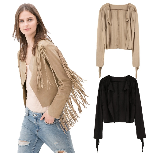 New Fashion Women Coat Faux Suede Tassel Fringe Long Sleeve Cardigan Outwear Slim Jacket Top Black/Khaki