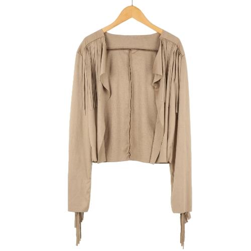 Nueva moda las mujeres capa gamuza borla flecos manga larga chaqueta parka chaqueta Slim Top negro/de color caqui