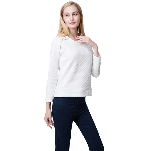 Fashion Women Sweatshirt Double Zippers Long Sleeve Pullover Top White G1485W-XL