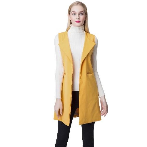 Europa mulheres colete fenda frontal aberta bainha lateral bolsos entalhados colar colete sem mangas Gilet Outwear amarelo
