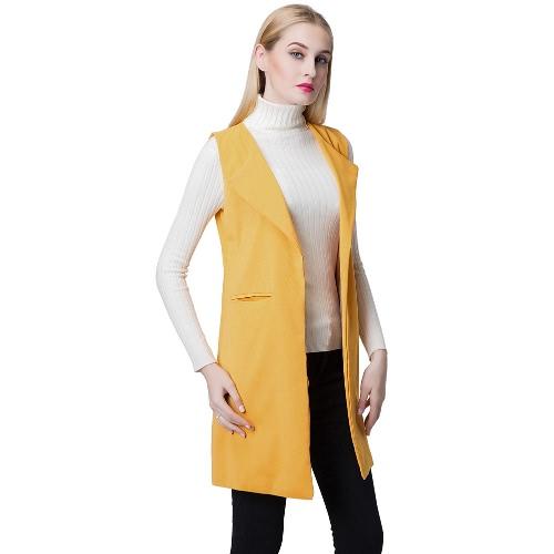 Europe Women Waistcoat Open Front Slit Hem Side Pockets Notched Collar Sleeveless Vest Gilet Outwear Yellow