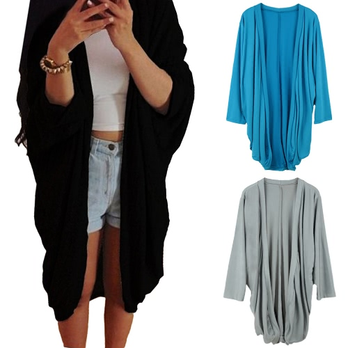 Europe Women Outerwear Open Front Ruffled Irregular Hem Batwing Long Sleeve Thin Casual Loose Cardigan Coat