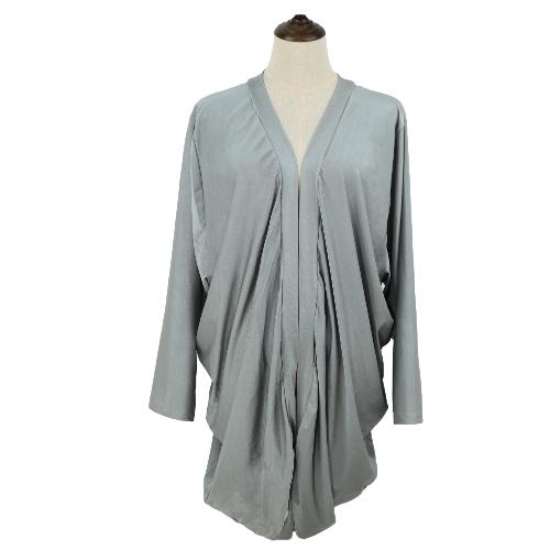 Europa mujeres abrigos frente abierto con volantes dobladillo Irregular larga alas de murciélago de manga Cardigan suelto Casual fino abrigo
