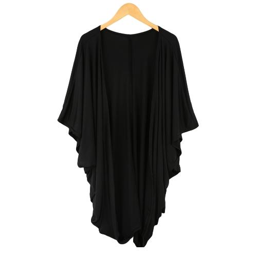 Novas mulheres Outerwear Batwing frontal aberto rua de mangas 3/4 estilo solto Cardigan longo casaco azul/preto