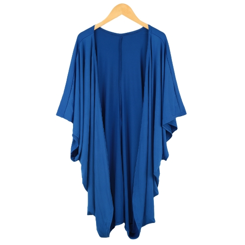 Nuevo las mujeres abrigos Batwing frontal abierta mangas 3/4 de la calle estilo flojo largo Cardigan abrigo azul/negro