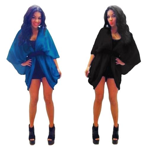 New Women Outerwear Open Front Batwing 3/4 Sleeves Street Style Loose Long Cardigan Coat Blue/Black