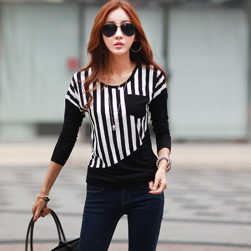 Nowa moda damska koszulka Striped Patchwork Chest Pocket Long Sleeve Bluzka Bluzka Topy Tee White / Black