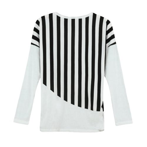 Новые моды женщин Футболка полосатая пэчворк груди карман длинным рукавом случайные блузка топы Tee белый/черный