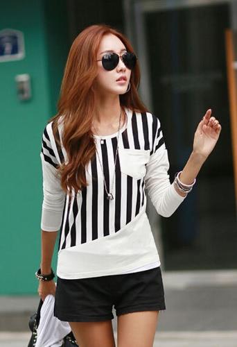 Nueva camiseta de las mujeres de moda de rayas Patchwork pecho bolsillo manga larga blusa Casual Tops Tee blanco/negro