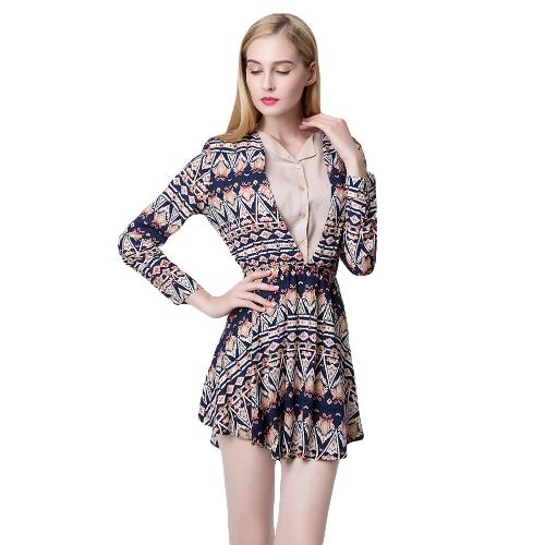 NOWE Moda Damska Sukienka Suknia Morska Sukienka Roczna Druk Długi Rękaw Luwak Elastyczny Pas Czerwony / Ciemny Niebieski