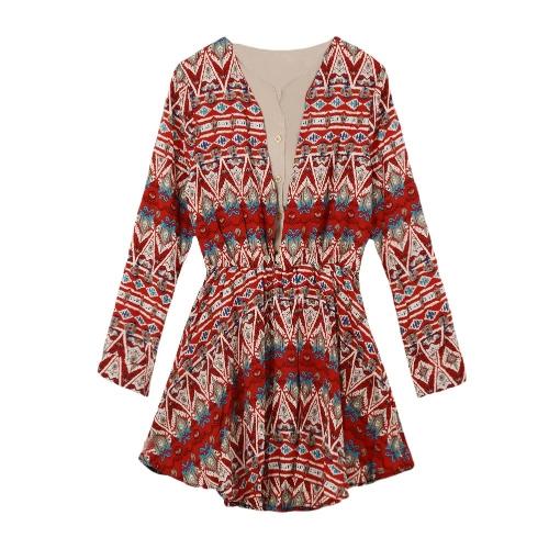 Nueva moda mujeres Patchwork Casual Vestido étnico impresión de manga larga botón volante elástico en la cintura rojo/azul oscuro