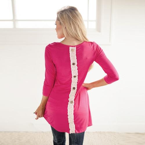 Moda mujer larga camiseta encaje Patchwork botón detrás redonda cuello 3/4 manga camiseta Casual vestido rosa