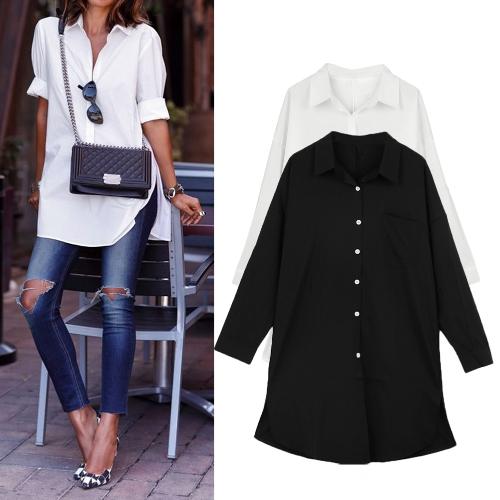 Mode Frauen Freizeithemd Fronttasche Seite Turn Down Schlitz Kragen lange Ärmel Bluse Tops weiß/schwarz