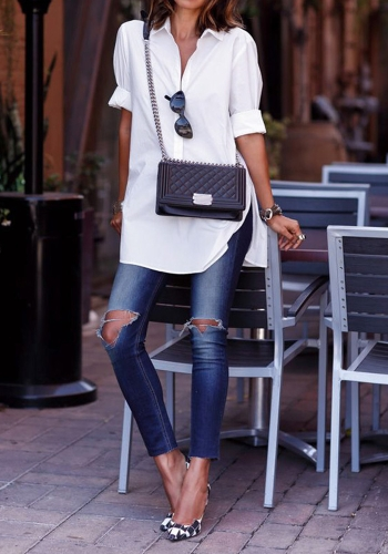Fashion Women Casual Shirt Front Pocket Side Slit Turn-Down Collar Long Sleeves Blouse Tops White/Black