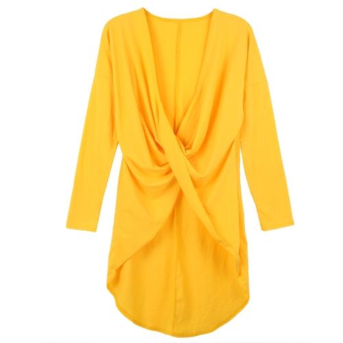 Nueva blusa Sexy de mujeres Cruz acanalada frontal profundo escote en v sumergido nuevamente Irregular dobladillo manga larga camisa de partido sólido