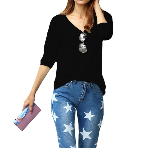 Moda mujer chica camiseta con cuello en v manga larga Color sólido suéter Casual Tops sueltos Tee blusa negro