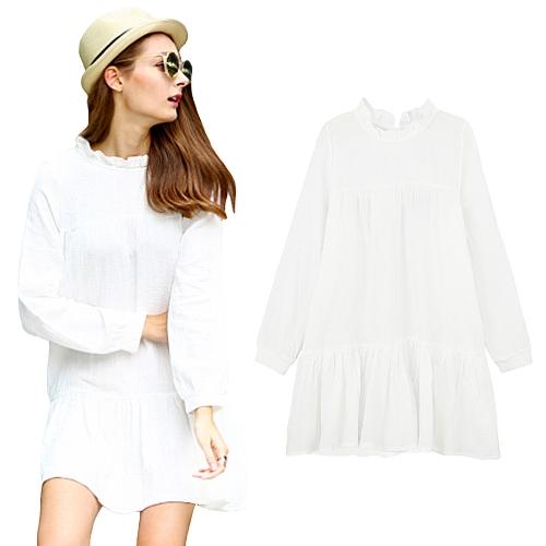 Moda mujer vestido Mini con volantes de cuello ancho dobladillo manga larga suelto vestido Casual blanco