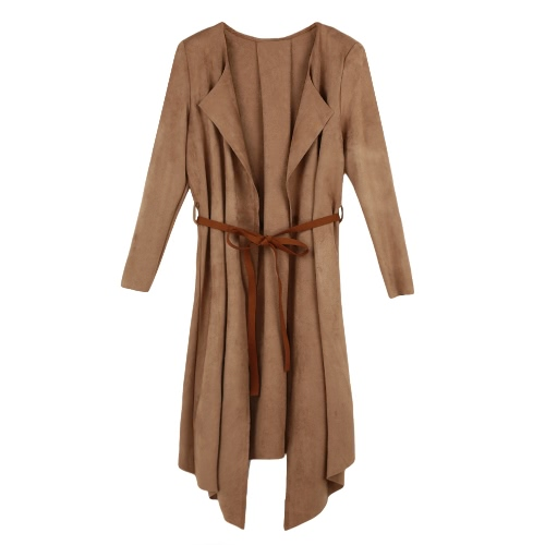 New Women Outerwear Open Front Long Sleeve Shoulder Pad OL Trench Coat Cardigan with Belt Camel