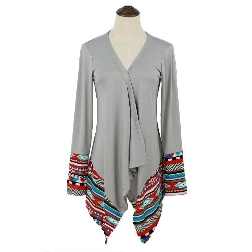 Europa las mujeres abrigos dobladillo Irregular impresión geométrica delantero abierto manga larga fina Casual chaqueta suelta escudo de cabo