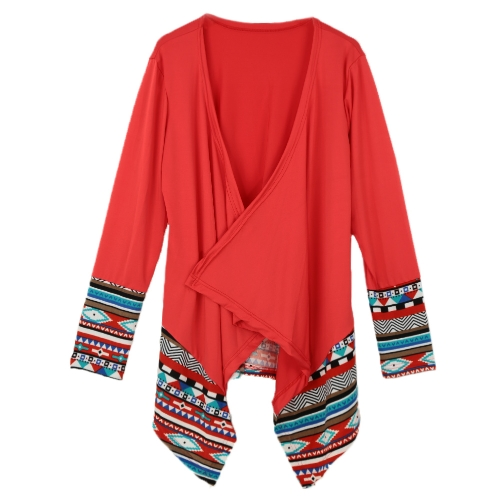 Europe Women Outerwear Open Front Geometric Print Irregular Hem Long Sleeve Thin Casual Loose Cardigan Cape Coat