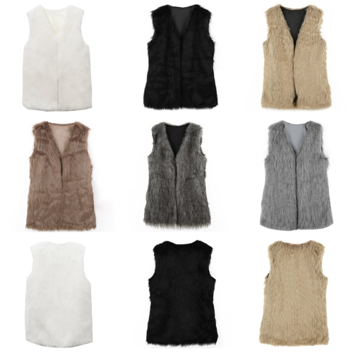 Fashion Elegance Women Warm Faux Fur Shaggy Vest Sleeveless Waistcoat Long Jacket Coat Outwear