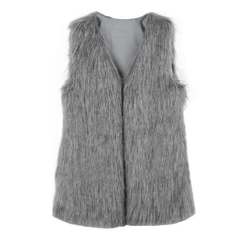 Moda elegancia las mujeres caliente Outwear chaleco peludo sin mangas chaleco chaqueta largo abrigo de piel sintética