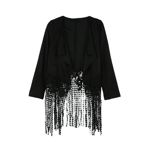 Nueva moda mujer chaqueta gamuza cuero Crochet encaje Patchwork borla Casual capa marrón/negro/ejército verde