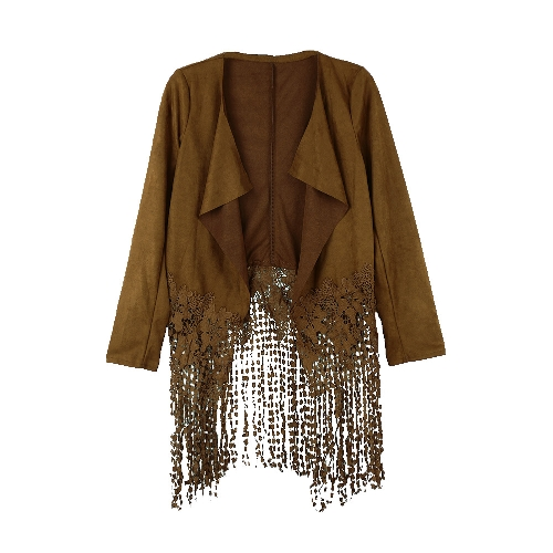 Damska kurtka Faux Suede Skórzana Crochet Koronka Patchwork Tassel Casual Coat Brown / Black / Army Green