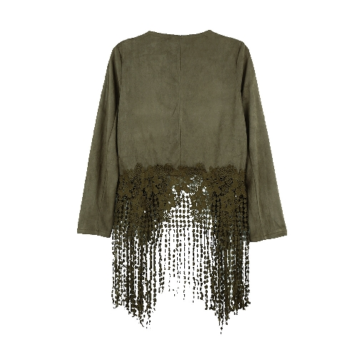Women Jacket Faux Suede Leather Crochet Lace Patchwork Tassel Casual Coat Brown/Black/Army Green