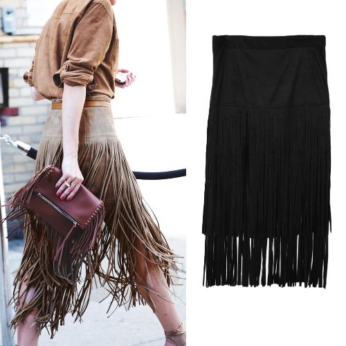 Moda mujer con flecos borlas falda cintura alta lado cremallera meneo Midi falda Bodycon falda negro/caqui