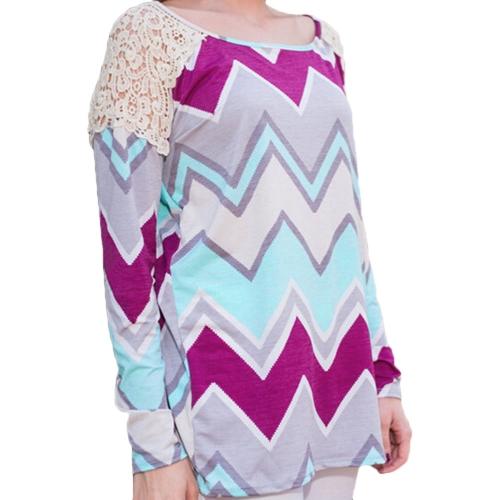 Neue Mode Frauen T-Shirt Lace Patchwork Kontrast Streifen Print Rundhalsausschnitt lässig oberen Rose