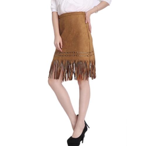 Las mujeres de moda Vintage con flecos falda gamuza hueco hacia fuera Slim cremallera falda Camel/negro/rosa