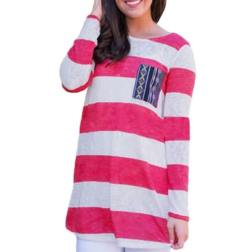 Novas moda mulheres t-shirt contraste listra peito bolso manga longa Casual confortável Blusa Tops Tee Rose