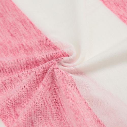 Новая Модная Женская Футболка Контрастная Полоска Нагрудный Карман с Длинным Рукавом Повседневная Удобная Блузка Топы Футболка Розовый