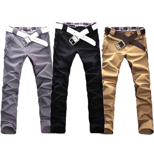 Стильные Штаны мужские Slim Fit брюки длинные прямые ноги