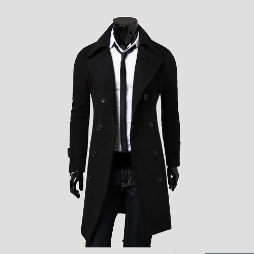 Con estilo gabardina chaqueta de invierno doble hombres botonadura abrigo