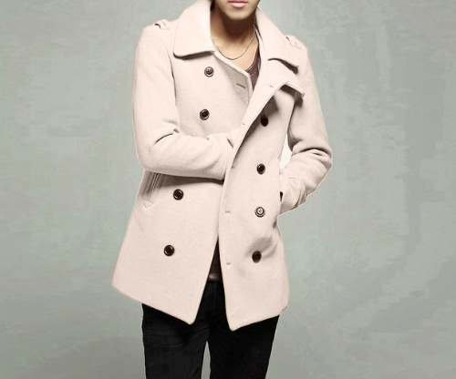 Abody Men's Stylish Double Breasted Trench Coat Jacket Outwear G4005BE-XL