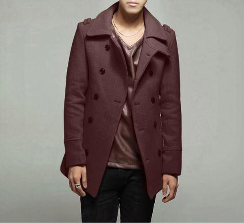 Elegante doble botonadura abrigo chaqueta de los hombres Outwear
