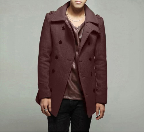 Men's Stylish Double Breasted Trench Coat Jacket Outwear G4005BR-XL