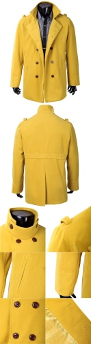 Abody Men's Stylish Double Breasted Trench Coat Jacket Outwear G4005GR-XL