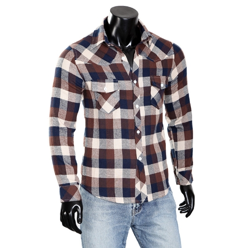 Mens cheque vestido camiseta Plaid