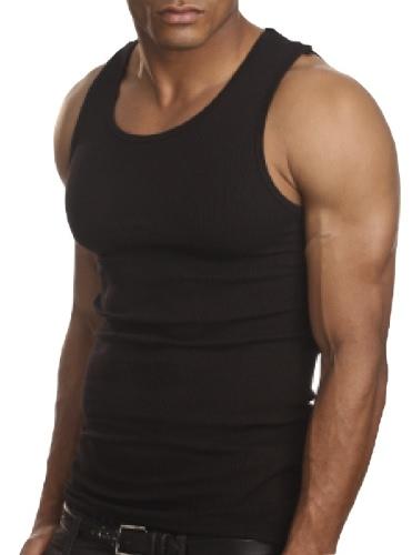 Tapa del tanque A-camisa de algodón Moda Casual hombre redondo cuello chaleco T camisa negra sin mangas
