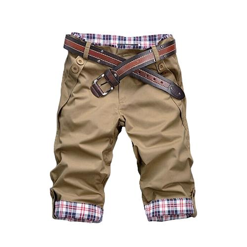 Fashion Casual Men Pants Plaid Rolling-up Cuffs Button Pockets Trousers Short Pants without Belt Khaki