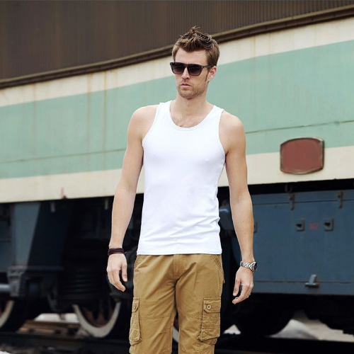 Fashion Men Tank Tops Round Neck Sleeveless Sports Causal Vests White