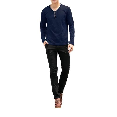 Moda hombre delgado camiseta con cuello en v manga larga botón Pullover Tops camiseta azul oscuro