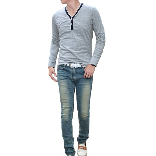 Fashion Men Slim T-shirt V-neck Long Sleeve Button Pullover Tops Tee Shirt Grey