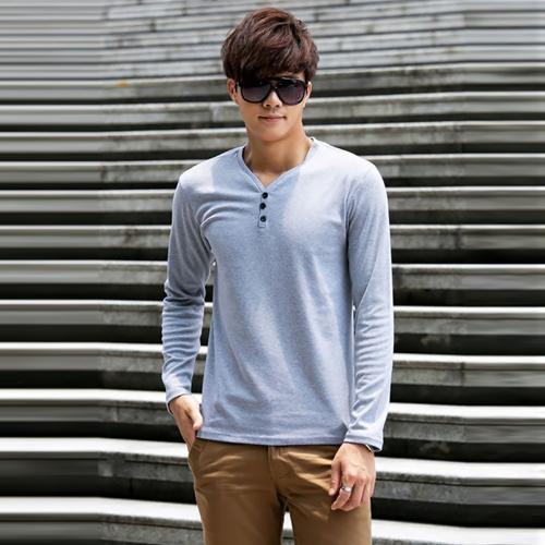 Moda hombre delgado camiseta botones con cuello en v manga larga Casual Tops Jersey gris