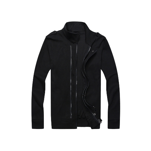 Nova moda homens jaqueta dois zíperes dragonas mangas compridas casaco fino Slim Outerwear preto