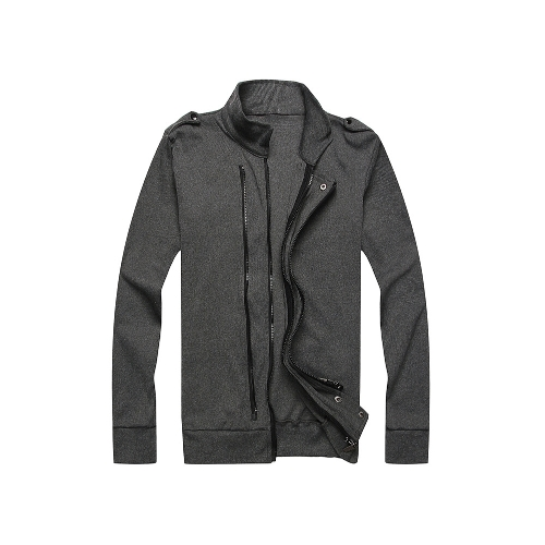 Nueva moda hombres chaqueta dos cremalleras charreteras manga larga delgada capa fina ropa de abrigo gris oscuro