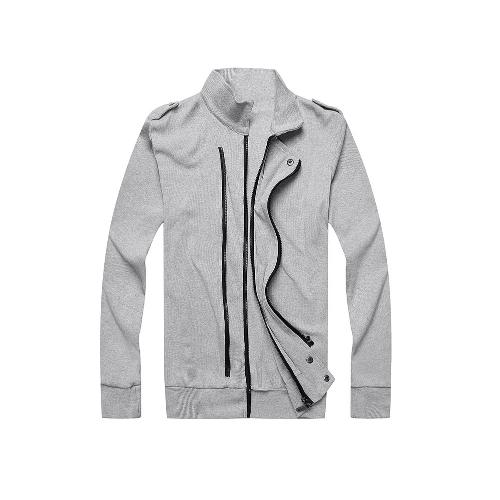 Nueva moda hombres chaqueta dos cremalleras charreteras manga larga delgada capa fina ropa de abrigo gris claro